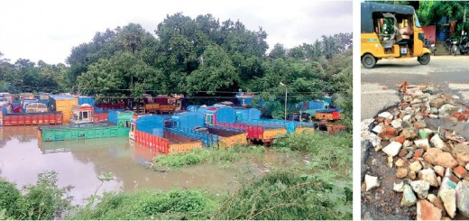 Downpour submerged trucks, and bad roads made them unpliable