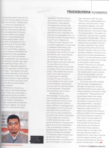 Interview of Ishu Bansal, co- founder of TruckSuvidha covered in CV magazine