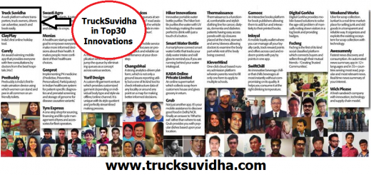 TruckSuvidha is among Top 30 Innovations of India that can change your future organised by Catapooolt ‪‎Changemakers‬ ‪‎Challenge in association with The Economic Times.