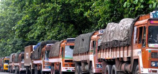 Protest against ban on oversized trucks