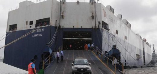 Passenger cars that were transported by sea being offloaded from MV Dresden, which called at the Cochin Port
