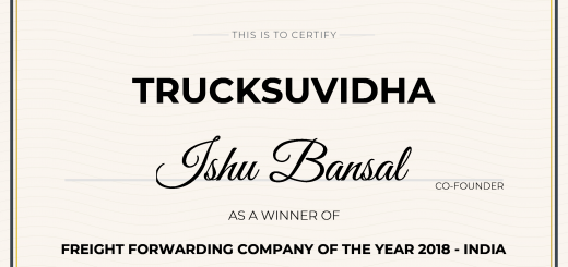 TruckSuvidha Won Freight Forwarding Company of the Year Award