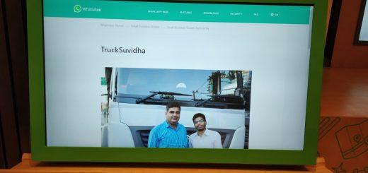 """TruckSuvidha"" Story featured on Social Platform ""Whatsapp"""
